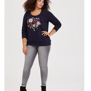 Torrid Navy Embroidered Floral Sweater 1X